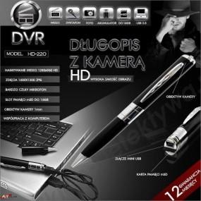 Długopis z kamerą do 16GB nowy model HD220 +8GB TOSHIBA
