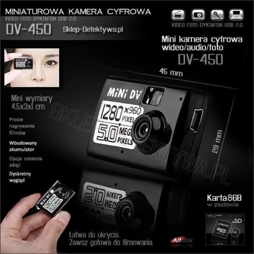 Najmniejsza na świecie kamera cyfrowa DV-450 +8GB SAMSUNG