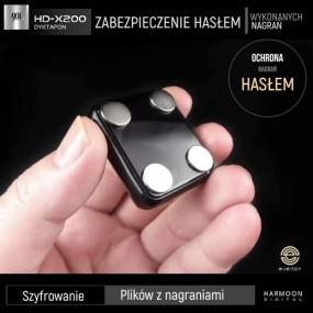 Podsłuch 46 dni nagrań. Wzmacniacz mikrofonu. Zabezpieczenie hasłem. Dyktafon szpiegowski z czujnikiem dźwięku HD-200.