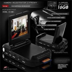 Rejestrator wideo z monitorem LCD nagrywanie bez limitu DV-366+8GB EMTEC
