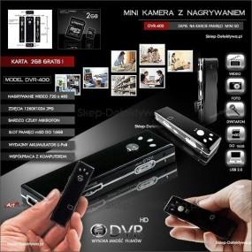 Kamera DVR400+ Dyktafon RV100+Karta 8GB.Zestaw promocyjny