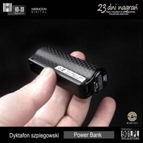 Podsłuch 23 dni nagrań bez przerwy .Dyktafon szpiegowski w Power Bank HD-X8