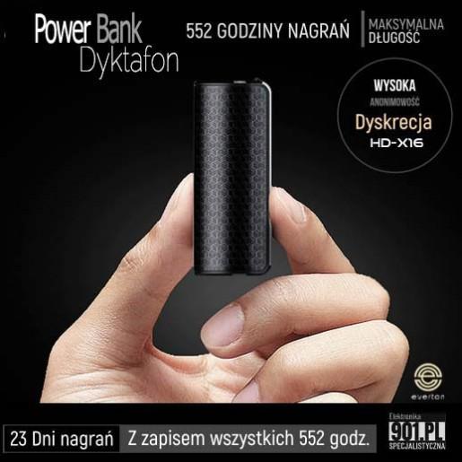 Podsłuch 23 dni nagrań. Dyktafon szpiegowski ukryty w Power Bank. Hasło dostępu. Czujnik dżwięku. HD-X16
